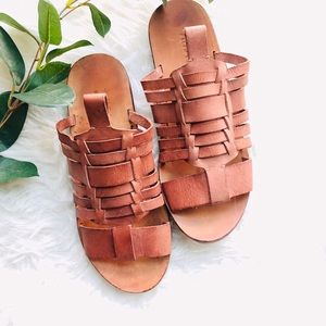 Ralph Lauren Polo Leather Woven Flat Sandals